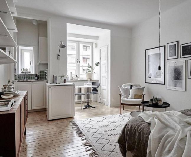 Jednoizbový byt_škandinávsky štýl